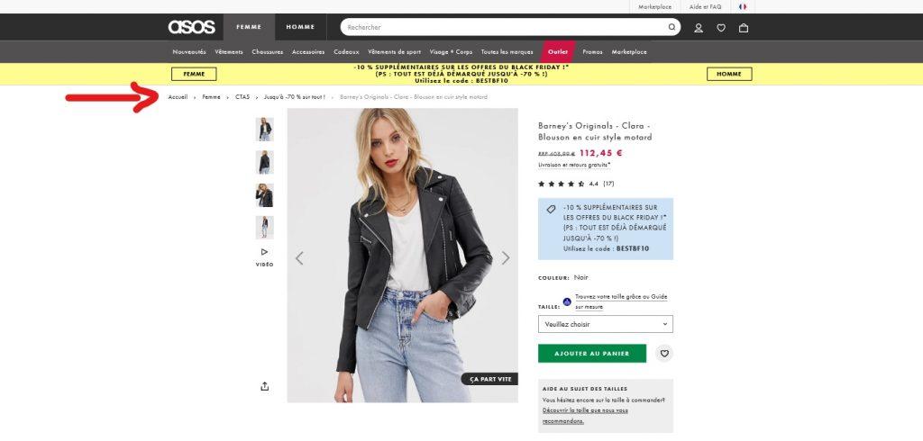 exemple fil d'arriane pour boutique e-commerce