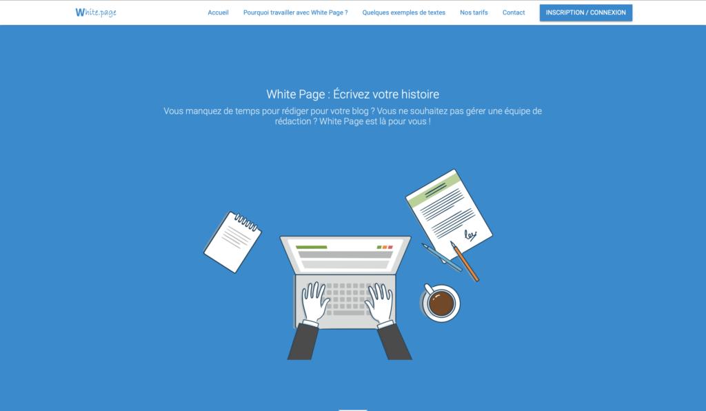 White page plateforme de rédaction web pour trouver des clients